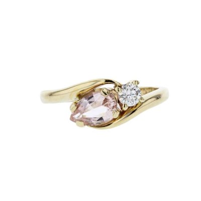 Diamond Rings 9ct. Yellow Gold Morganite & Diamond Ring
