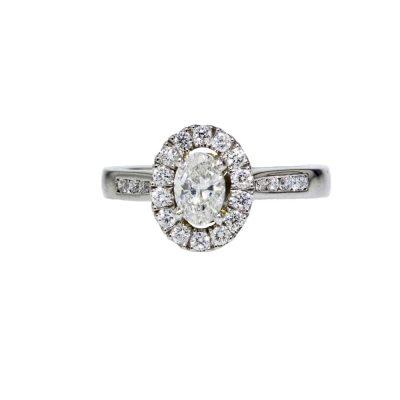 Diamond Rings Platinum Oval Cluster Diamond Ring