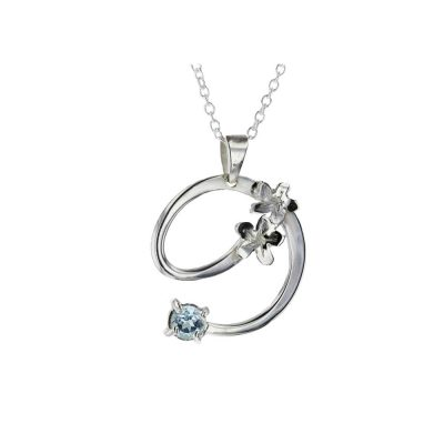 Burren Collection Sterling Silver and Blue Topaz Burren Pendant