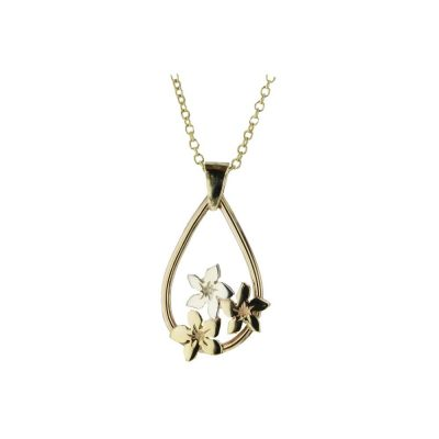 Burren Collection Pear Shaped Burren Pendant with Yellow & White Gold Flowers