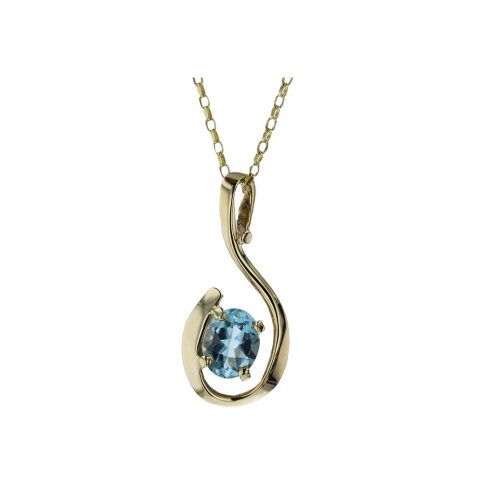 Jewellery 9ct. Yellow Gold & Pale Blue Topaz Pendant