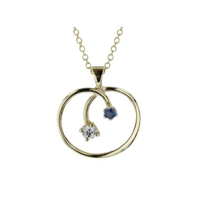 Gold Pendants 9ct. Gold Sapphire and CZ Pendant