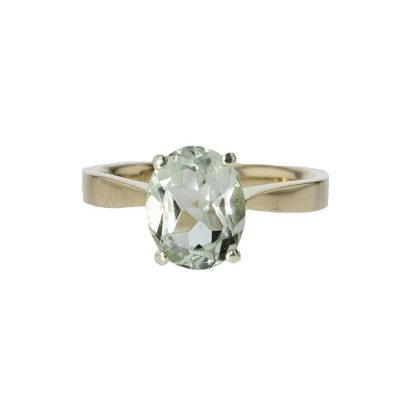 Dress Rings 9ct. Gold Oval Green Amethyst Ring with White Gold Setting
