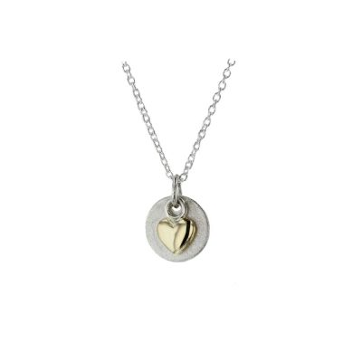 Jewellery Sterling Silver Pendant with 9ct. Gold Heart