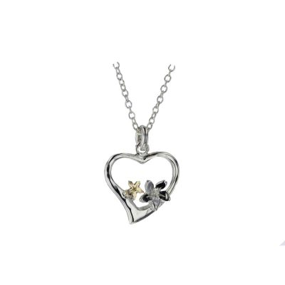 Burren Collection Sterling Silver Burren Heart with Flowers