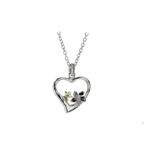 Burren Collection Sterling Silver Heart Pendant with Silver and Gold Burren Flowers