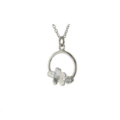 Burren Collection Sterling Silver Burren Flower, Bezel Set Stone