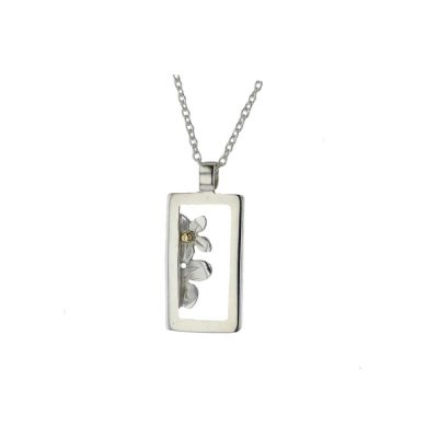 Burren Collection Sterling Silver Rectangular Pendant, Peeping Flowers with Gold Bead