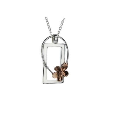 Burren Collection Silver Rectangular Pendant with Rose Gold Burren Flower