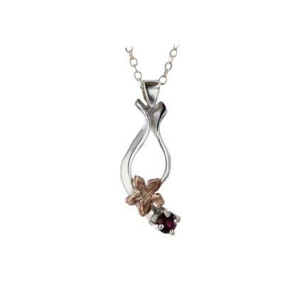 Burren Collection Rose Gold Burren Flower & Rhodolite Garnet Pendant