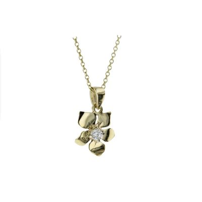 Burren Collection 9ct. Gold Burren Flower with Claw set Stone
