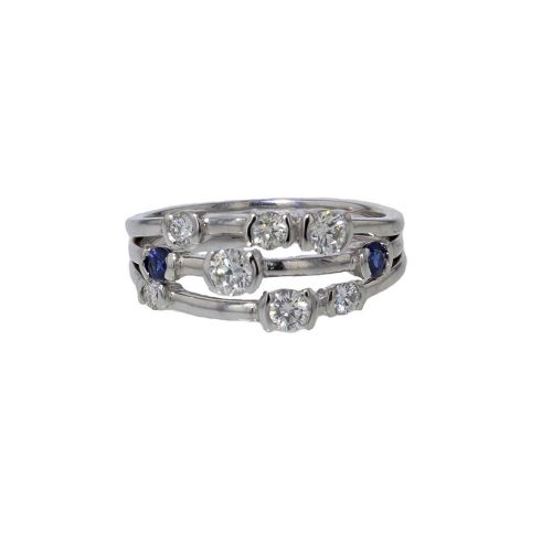Dress Rings Sapphire and Diamond Multistone Stacking Ring
