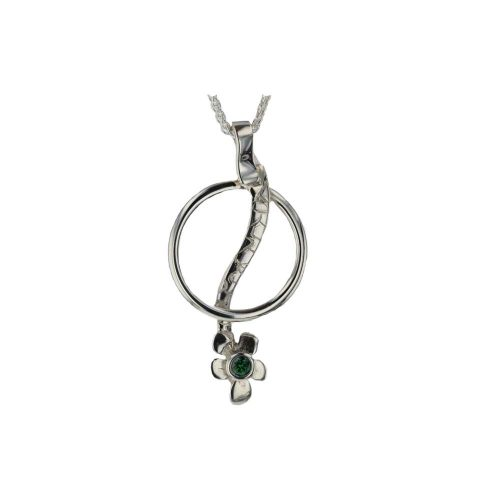 Burren Collection Sterling Silver Green Swarovski Crystal Burren Pendant