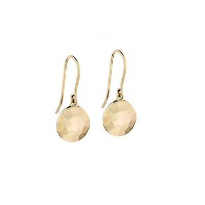 Earrings 9ct. Yellow Gold Hammered Earrings