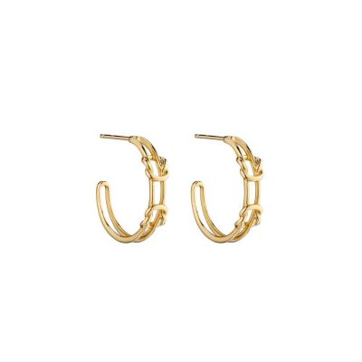 Earrings 9ct. Yellow Gold Double Parallel Knot Hoops