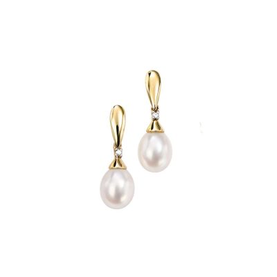 Earrings 9ct. Yellow Gold and Pearl Earrings