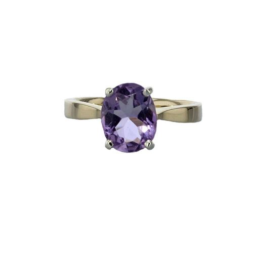 Dress Rings 9ct. Yellow Gold Oval Purple Amethyst Ring with White Gold Setting