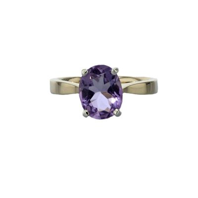 Dress Rings 9ct. Gold Oval Purple Amethyst Ring with White Gold Setting