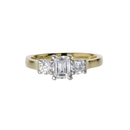 Diamond Rings 18ct. Yellow Gold Ring, Emerald cut Diamond