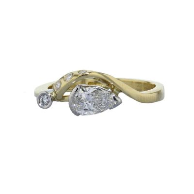 Diamond Rings 18ct. Yellow Gold Diamond Ring with Pear Shaped Diamond