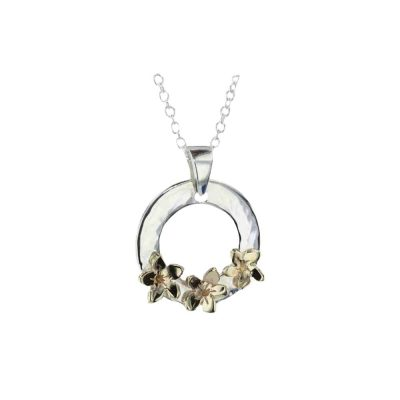 Burren Collection Sterling Silver Burren with 3 9ct Yellow Gold Burren Flowers