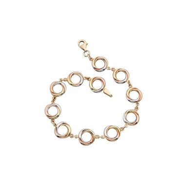 Bracelets 9ct Yellow, White and Rose Gold Circular Link Bracelet