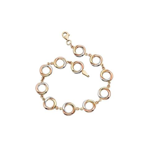 Jewellery 9ct Yellow, White and Rose Gold Circular Link Bracelet