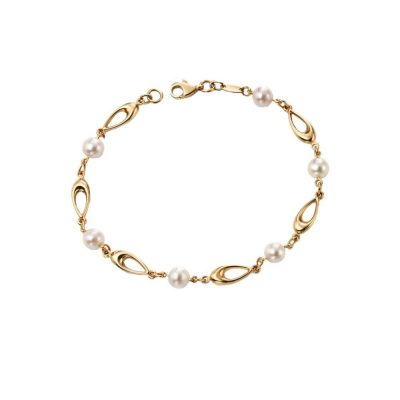 Bracelets 9ct. Yellow Gold and Freshwater Pearl Bracelet