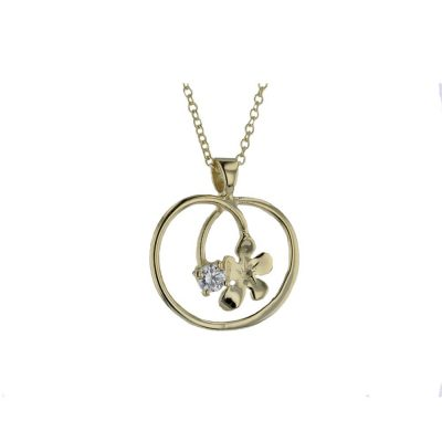 Burren Carousel 9ct. Gold Pendant with Gold Burren Flower and CZ