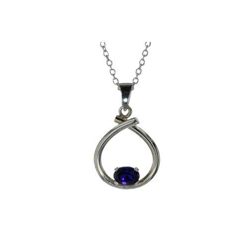 Jewellery Sterling Silver Handforged Pendant with Iolite