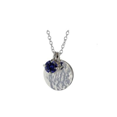 Jewellery Sterling Silver Hammered Finish Iolite Pendant
