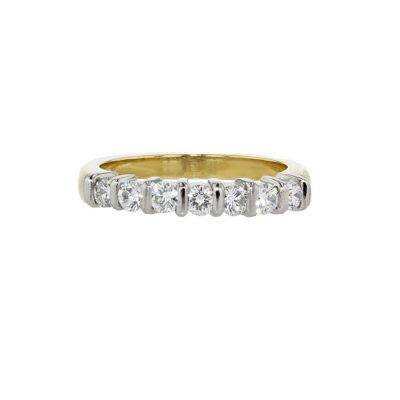 Eternity Rings 18ct Yellow Gold Diamond Ring with Platinum Setting