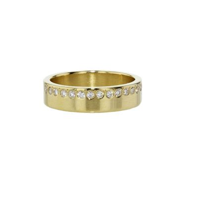 Diamond Rings 18ct Yellow Gold Ring with Gypsy set Diamonds