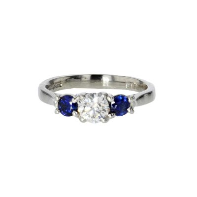 Dress Rings Diamond and Sapphire 3 Stone Platinum Ring