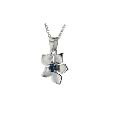 Burren Collection Sterling Silver Burren Pendant set with London Blue Topaz