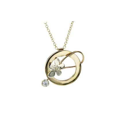 Burren Collection 9ct Yellow and White Gold Pendant with Burren Flower and CZ