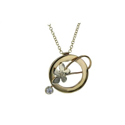 Burren Collection 9ct Yellow and White Gold Pendant with CZ