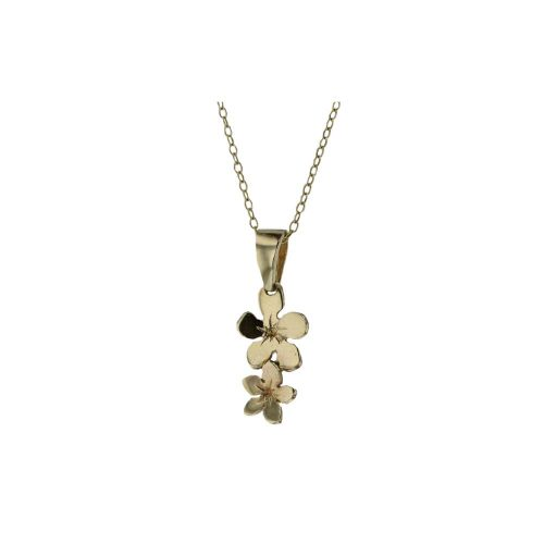 Burren Collection 9ct Yellow Gold Burren Flower Pendant with 2 Flowers
