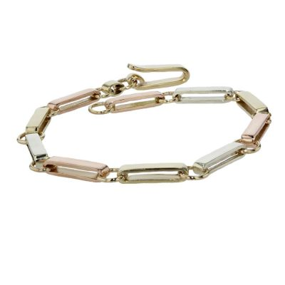Bracelets Yellow, White and Rose Gold Handmade Link Bracelet