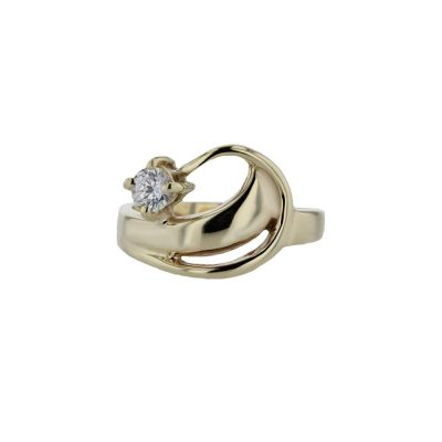 Dress Rings 9ct Yellow Gold Wave Ring with Claw set CZ