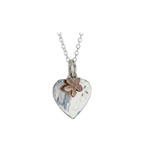 Burren Collection Hammered Silver Heart Pendant with Rose Gold Flower