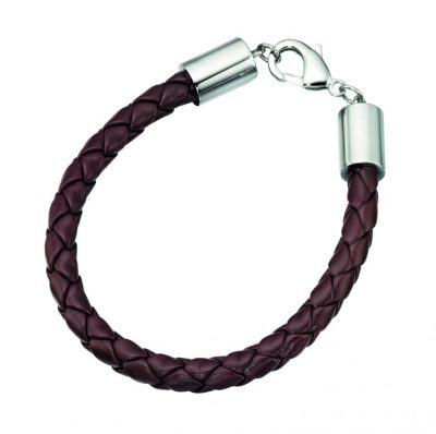 Gents Jewellery Brown Leather Plait Wrist Strap