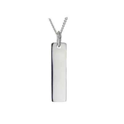 Gents Jewellery Sterling Silver Dog Tag Rectangular Pendant