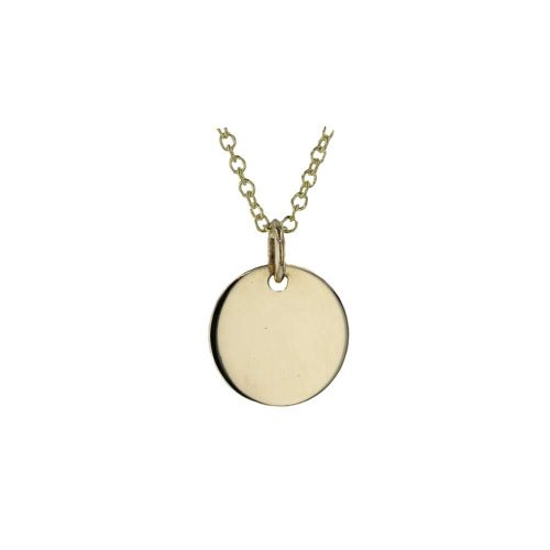 Gold Pendants 9ct Yellow Gold Engravable Disc