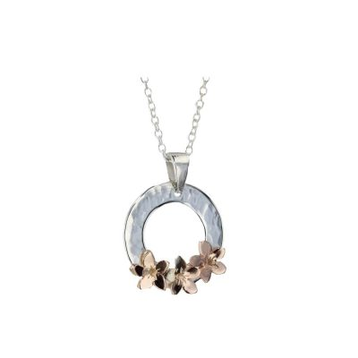 Burren Collection Sterling Silver Pendant with 3 9ct Rose Gold Burren Flowers