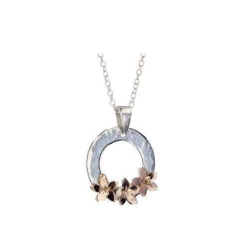 Burren Silver Pendants Sterling Silver Pendant with 3 9ct Rose Gold Burren Flowers