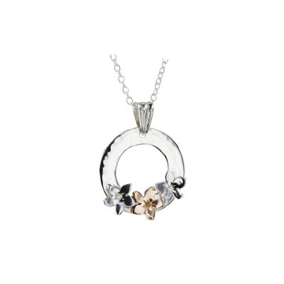 Burren Collection Sterling Silver Pendant with 1 9ct Rose Gold Burren Flowers