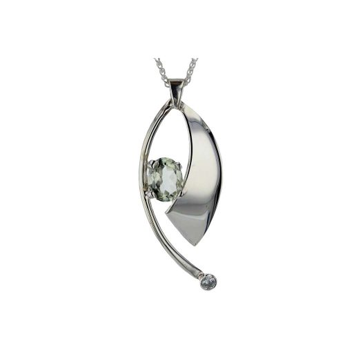 Jewellery Hand-forged Sail Shaped Pendant with Amethyst and CZ
