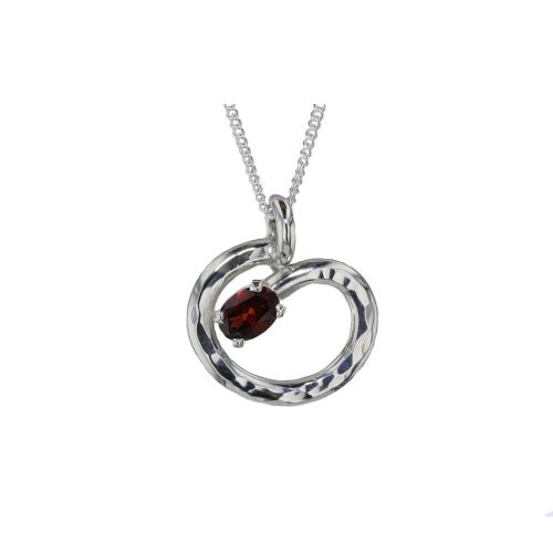 Jewellery Sterling Silver Hammered Textured Garnet Pendant