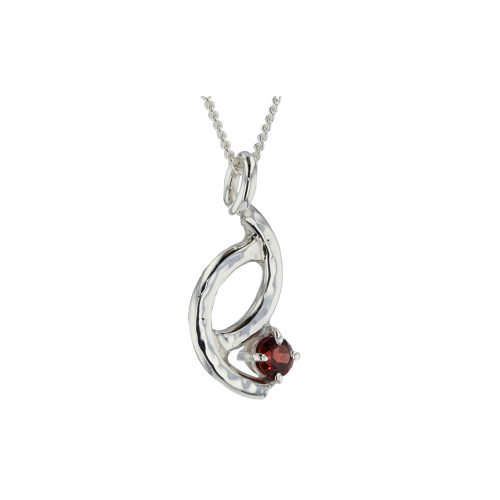 Jewellery Sterling Silver Hammered Textured Pendant with Garnet